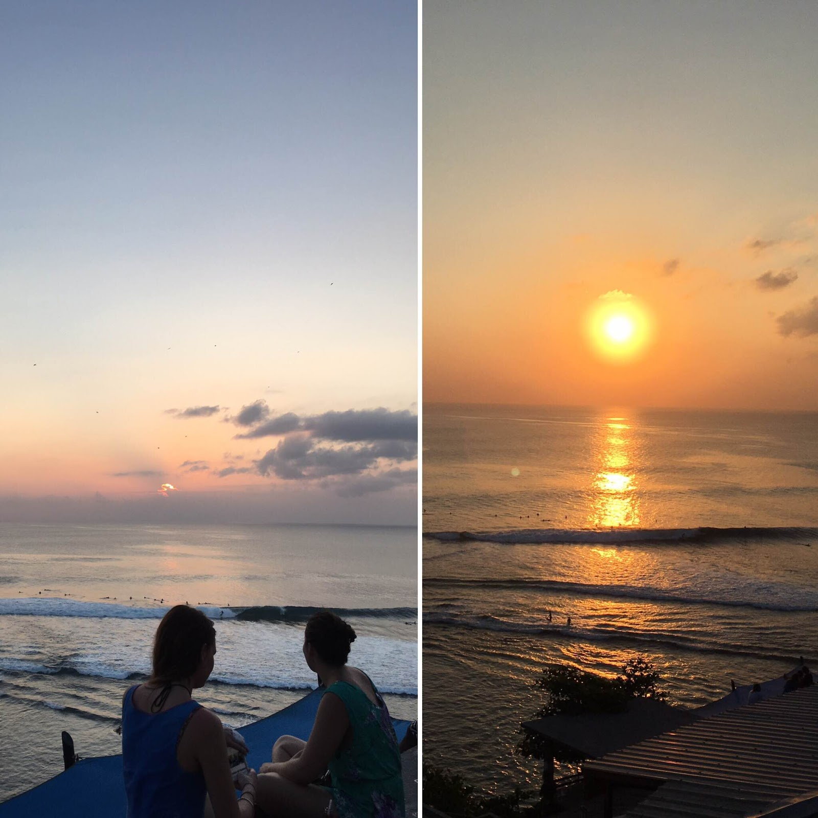 Suasana sunset di Blue Point Beach Bali