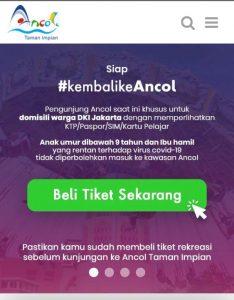 Website ancol.com buat reservasi tiket sebelum piknik ke Ancol